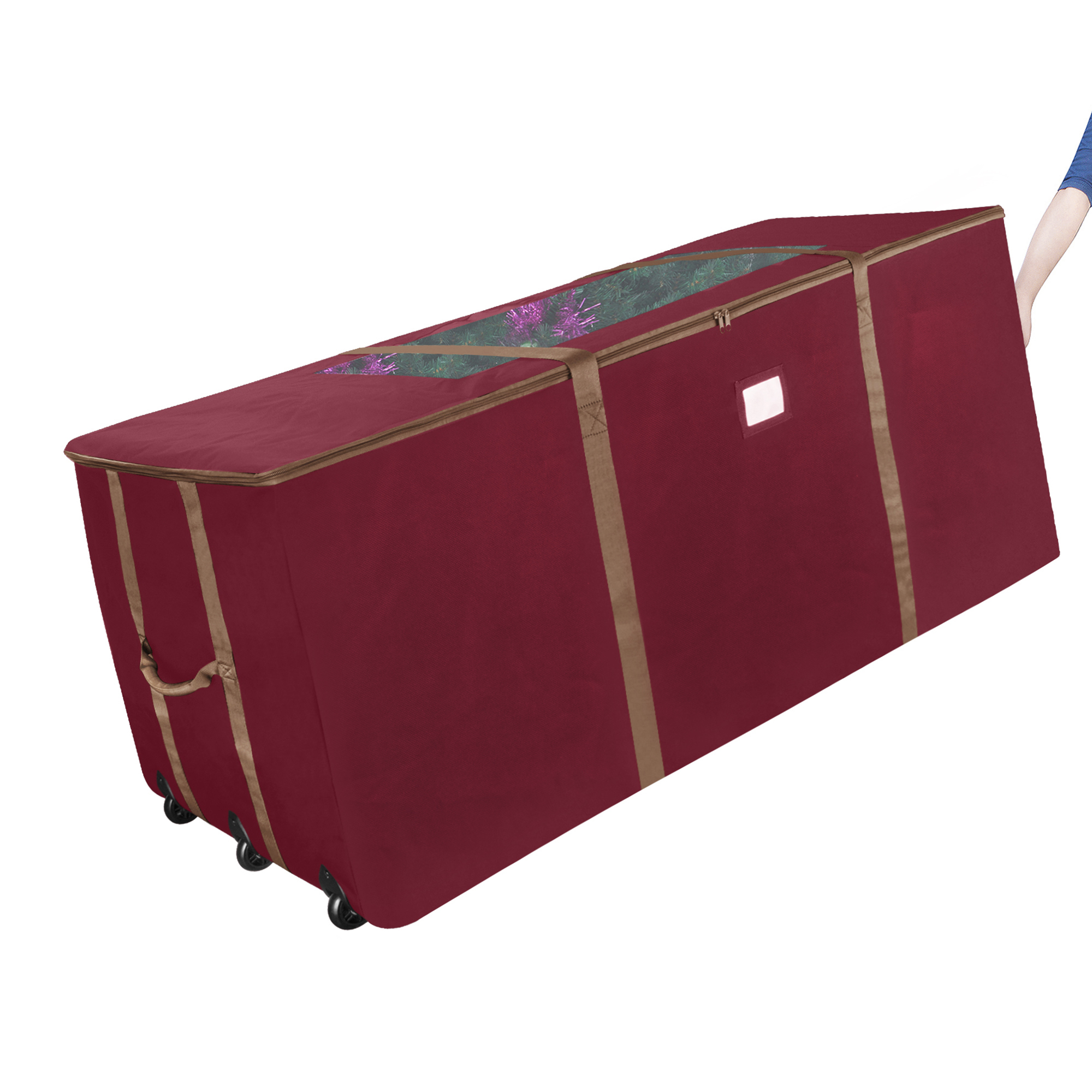 Elf Stor Red Rolling Christmas Tree Storage Duffel Bag w/Window for 12 Ft Tree