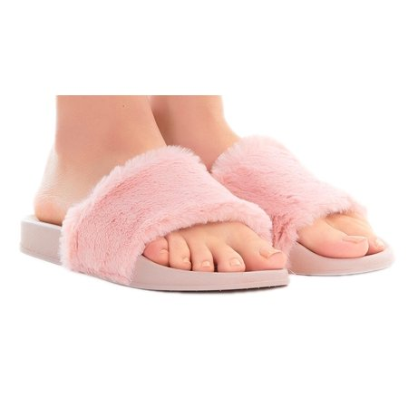 Women's Sandals - Slip On Sandals for Women - Waterproof Comfortable Slides - Flat Clear Transparent Shoes with Faux Fur (X-Large (10), Pink with Faux - Newport Waterproof Sandals
