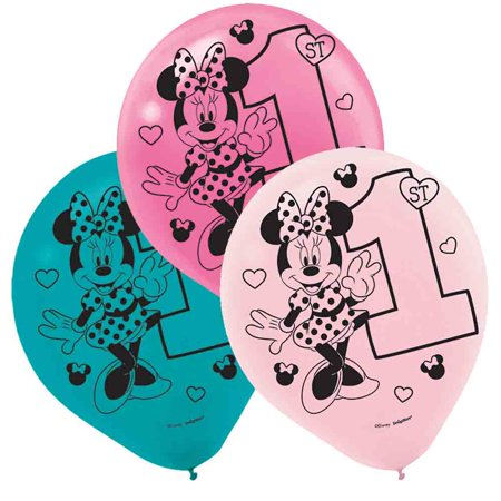 1st Birthday Minnie Mouse Latex Balloons 15 count Party Supplies Minnie Fun to be One! - Baby Minnie First Birthday