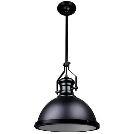 Sunlite 07044 - 1 Light (Medium Screw Base) Matte Black Round Shades Pendant Light Fixture (AQF/IS/1PD/BL)