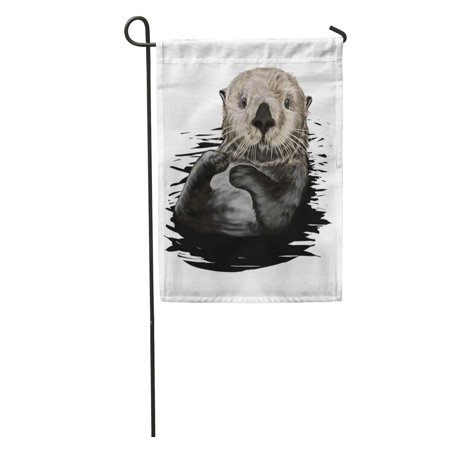 SIDONKU Brown Drawing Sea Otter Painting Aquatic Character Cheerful Garden Flag Decorative Flag House Banner 12x18 inch ()