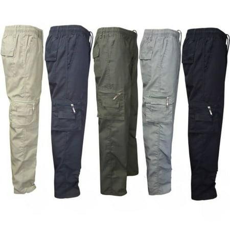 Men Pants Man Stretchy Summer Cargo Combat 7 Pockets Lightweight Work Pants ()