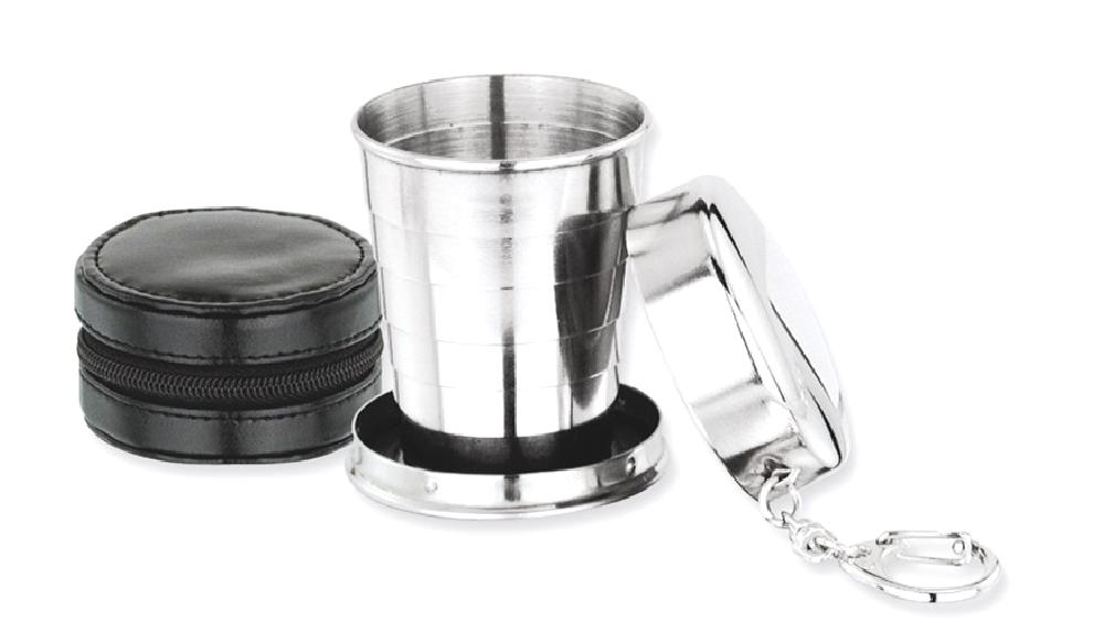 IceCarats Stainless Steel Collapsible Cup Key Band Ring Black Case Flask Tankard Money Clip Wallet Bar Wine Smoking... by IceCarats