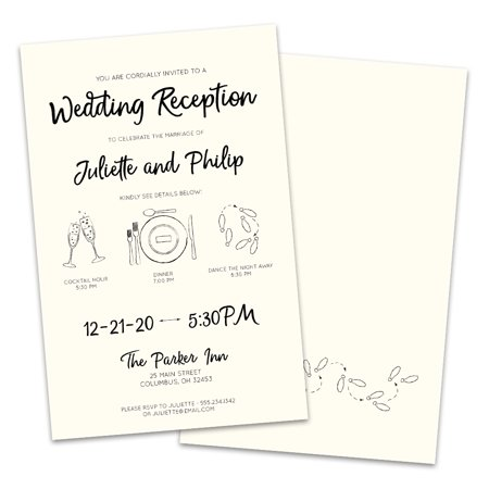 Simple Line Icons Personalized Wedding Reception Invitations