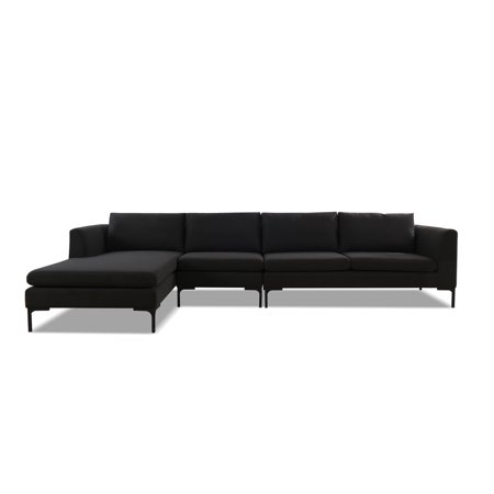 Sandy Wilson Home Weylyn LAF Chaise Sectional Sofa, Jet Black