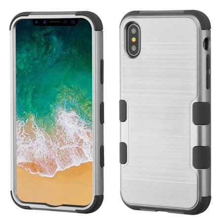 Insten Tuff Hard Hybrid Brushed TPU Cover Case For Apple iPhone 10 iPhone X 2017 - Silver/Gray (Bundle with MIRROR Tempered Glass Screen Protector)