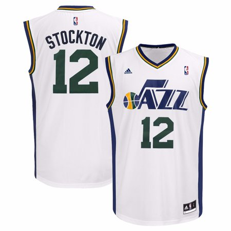 Custom Replica Away Jersey - John Stockton Utah Jazz NBA Adidas Men's White Replica Jersey