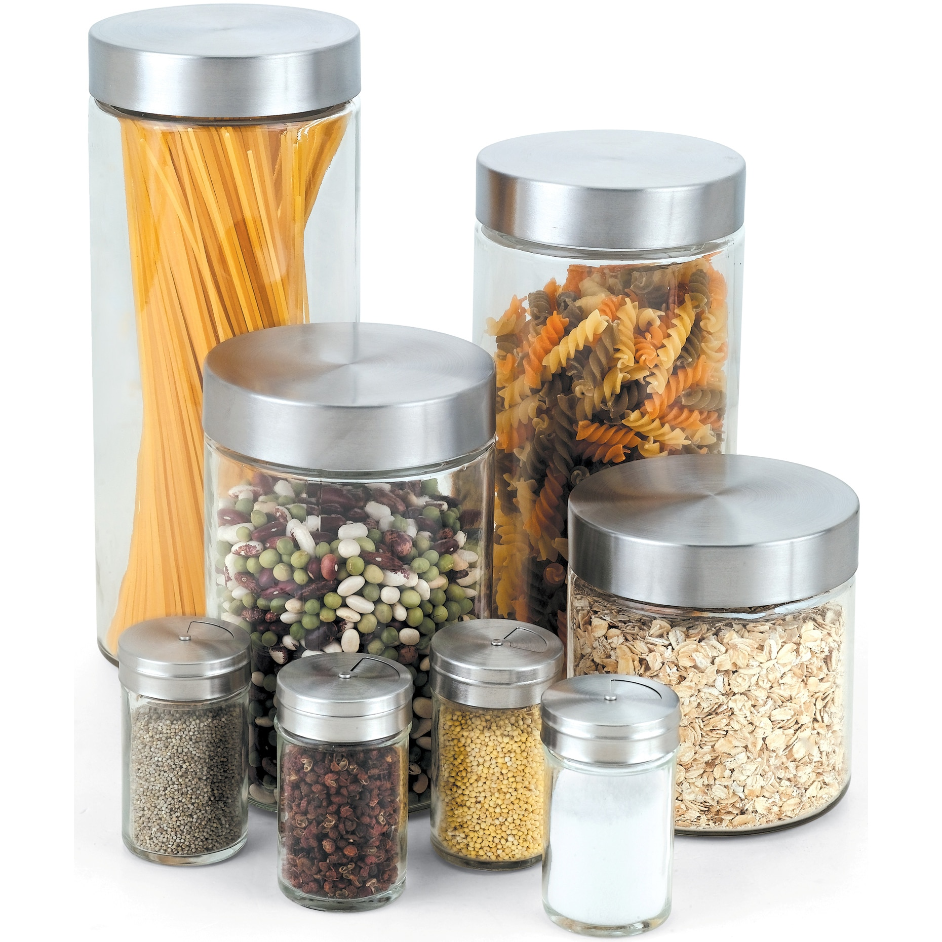 Cook N Home 8 Piece Glass Canister And Spice Jar Set With Lids    Clear/Silver