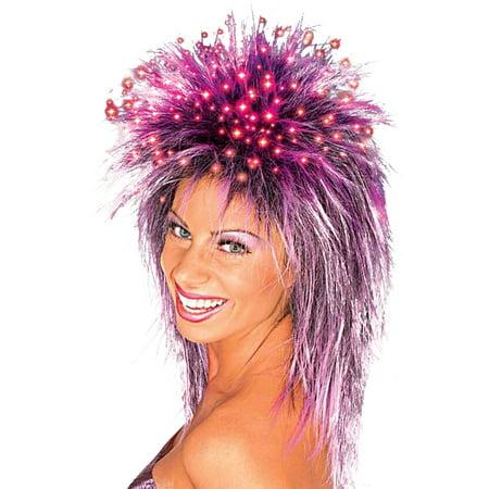 Purple Fiber Optic Wig Adult Halloween Accessory - Purple Wig Halloween
