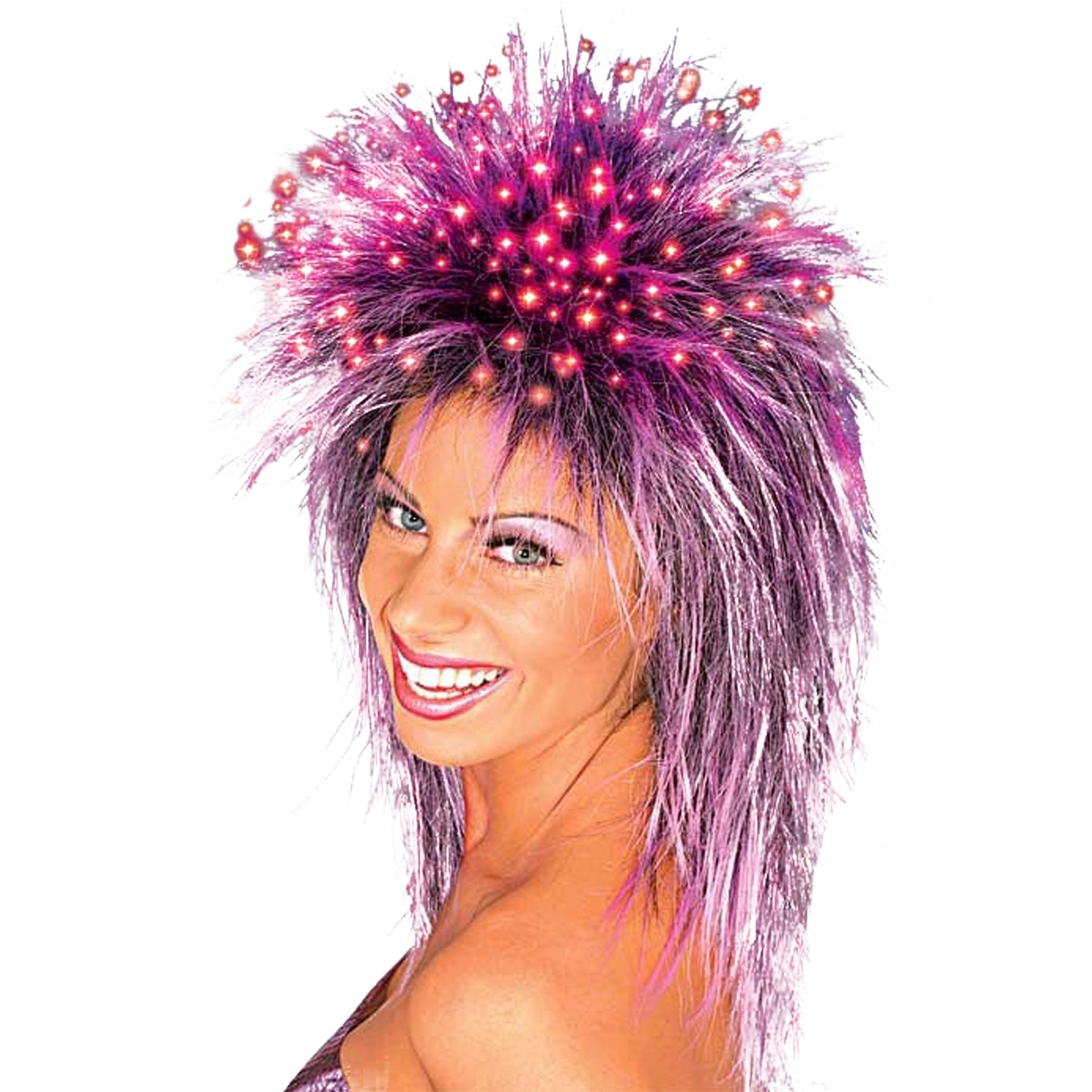 Purple Fiber Optic Wig Adult Halloween Accessory