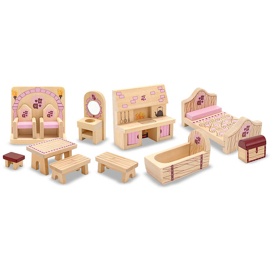 Melissa & Doug Princess Castle Wooden Dollhouse Furniture, 12pc by Generic