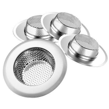 """4-pack Kitchen Sink Strainer - Large 4.3"""" Wide Rim Diameter - Prevent Clogged Drains With The Best Stainless Steel Screen Mesh Basket Catcher/Stopper for Kitchen, Shower & Utility Rooms"""
