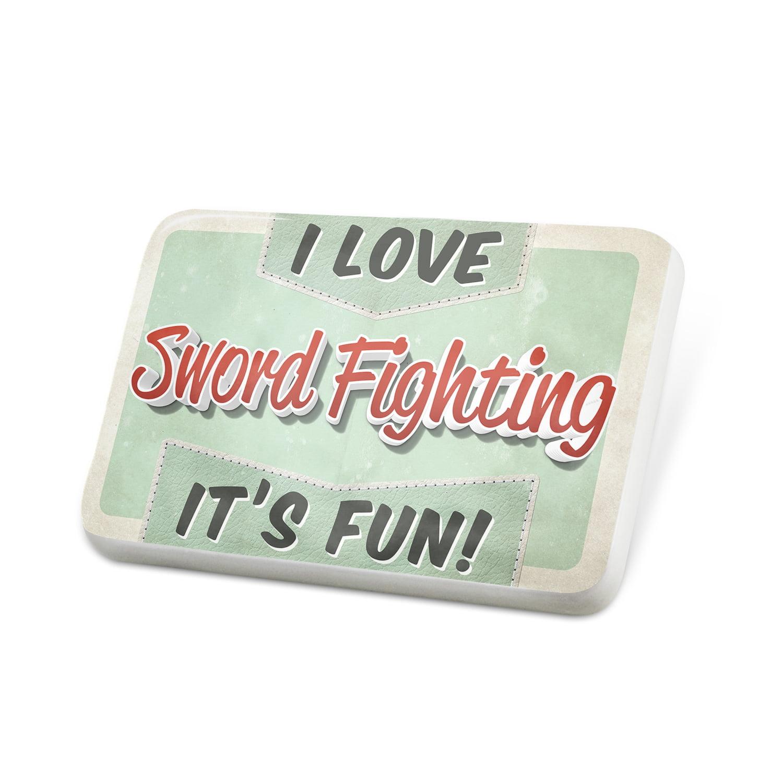 Porcelein Pin I Love Sword Fighting, Vintage design Lapel Badge – NEONBLOND