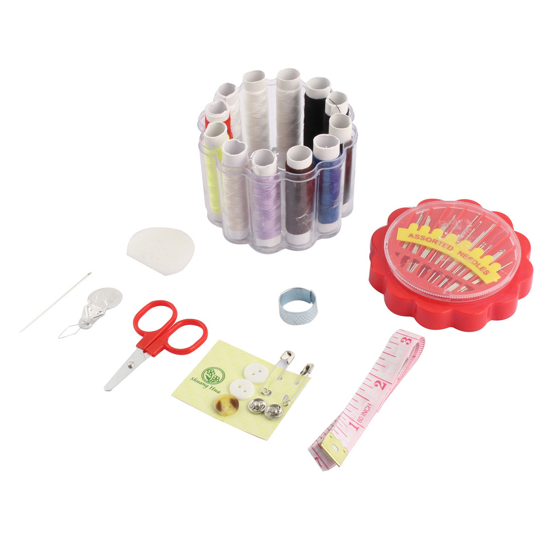 Plastic Box Measure Tape Needle Thread Scissors Thimble Sewing Tool Kit Red