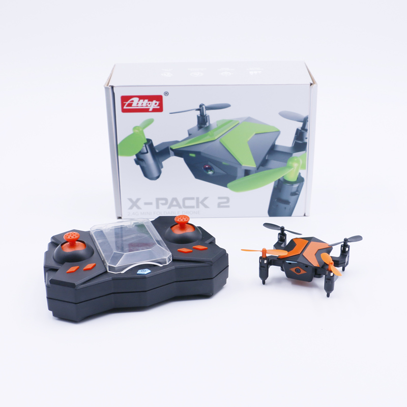 ATTOP XT-2 Drone with Wifi HD Camera FPV Live Video Cell Phone Control 4 Rotors Folding Quadcopter 2.4G 6 Axis Gyro Fold Remote Control Heli with One Key Take Off Altitude Hold