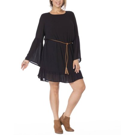 Plus Moda Women's Plus Bell Sleeve Ruffle Dress for $<!---->