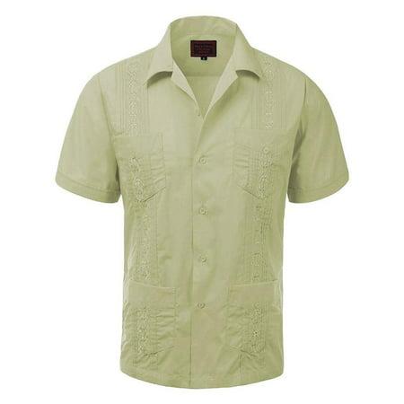 Men's Guayabera Embroidered Cuban Beach Wedding Short Sleeve Button up Casual Dress Shirt Olive](Cuban Style Shirts)