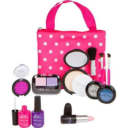 "PixieCrush Pretend Play Makeup Kit. Designer Girls ""Polka Dot"" Essential Bag Set"