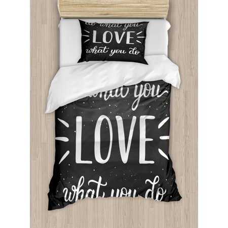 Love What You Do Duvet Cover Set, Hand Lettering Typography Composition with Dots and Stripes, Decorative Bedding Set with Pillow Shams, Charcoal Grey and White, by Ambesonne ()