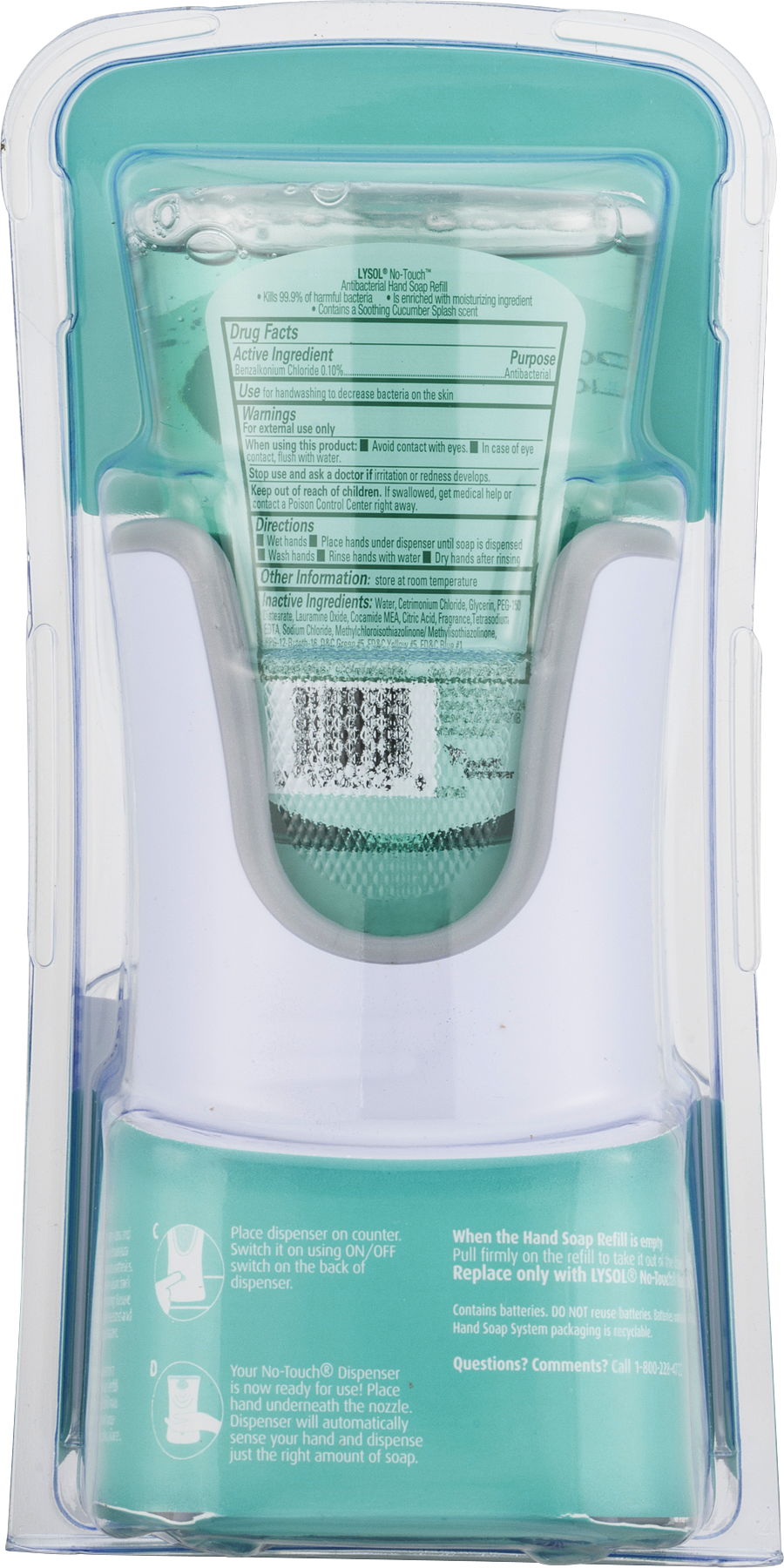 Lysol No-Touch Antibacterial Hand Soap System Soothing Cucumber ...