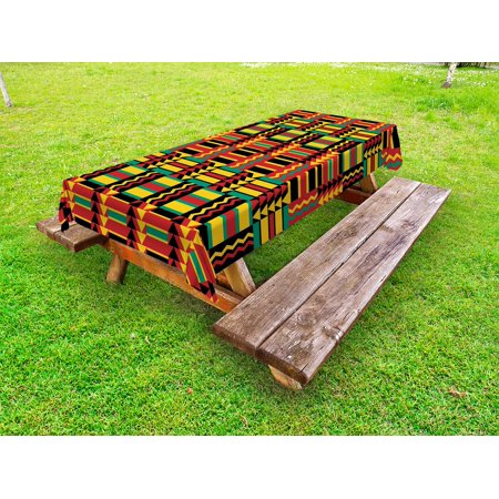 Kente Pattern Outdoor Tablecloth, Ethnic Pattern with Stripes Triangles and Zigzags Uganda Zimbabwe Nigeria, Decorative Washable Fabric Picnic Table Cloth, 58 X 84 Inches,Multicolor, by Ambesonne