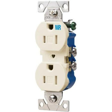 Cooper TWR270LA Light Almond Weather and Tamper Resistant Duplex Receptacle Outlet 15A 125V