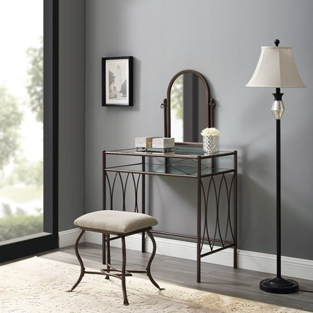 Mainstays Metal and Glass Vanity with Shelf and Upholstered Stool, Dark Bronze (Bronze Vintage Vanity)