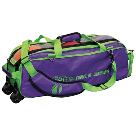 Vise Clear Top 3 Ball Roller Bowling Bag- Grape/Green ()
