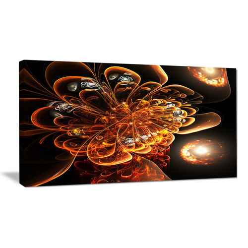 Design Art Dark Orange Fractal Flower Graphic Art on Wrapped Canvas