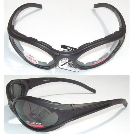 2 Motorcycle Glasses Padded Smoked Clear Smoke is for Day and Clear is for Night Has Foam Padded Frame For Comfort and to Keep Wind Dust and Bugs Out of (Day And Night Motorcycle Glasses)