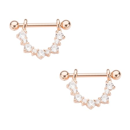 Rose Gold PVD Plated Half Circle Nipple Jewelry 14g (14g Gold Plate)