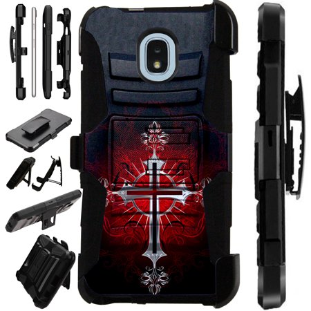 LuxGuard Phone Case Cover For Samsung Galaxy J3V (2018)   J3 Orbit   J3 Achieve   Express Prime 3 (Red Gothic Cross)