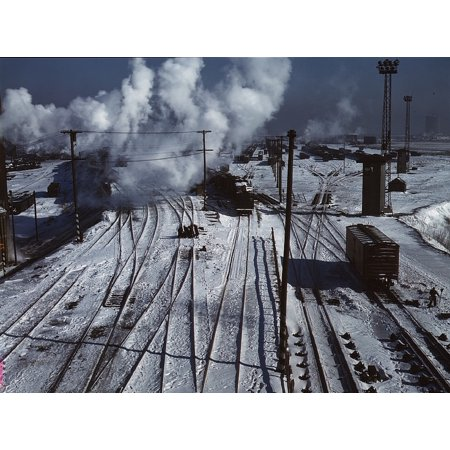 LAMINATED POSTER Winter Trains Cold Snow Landscape Railroad Yard Poster Print 24 x 36