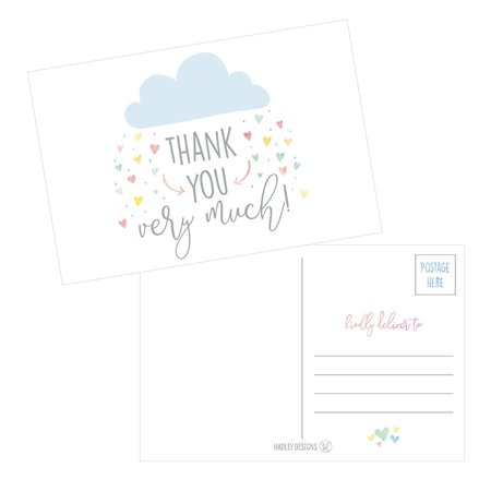 50 4x6 Rain Clouds Blank Thank You Postcards Bulk, Cute Modern Baby Shower Sprinkle Rainbow Showered With Love Thank You Note Card Stationery For Wedding Bridesmaid Bridal, Religious, Holiday](Thank You Cards In Bulk)