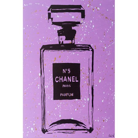 Buy-Art-For-Less-Chanel-No-5-by-Pop-Art-Queen-Graphic-Art-on-Wrapped-Canvas-in-Purple-and-Black