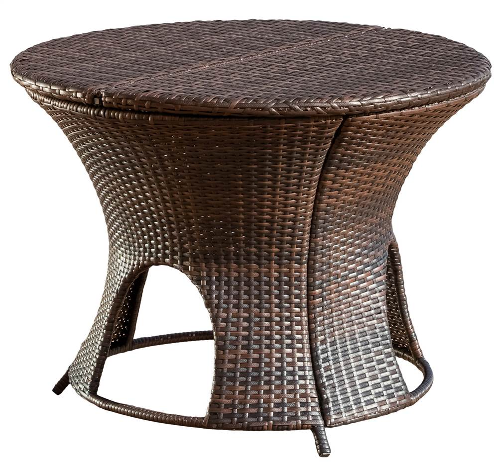Outdoor Round Table with Storage Unit in Brown