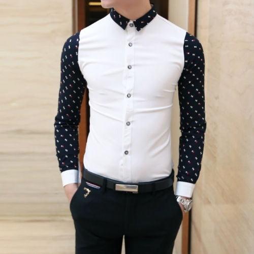 Fashion Men/'s Luxury Stylish Casual Dress Shirts Long Sleeve Slim Fit T-Shirts /&