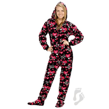 2 piece footed pajamas adult
