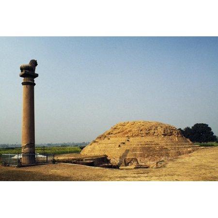 Pillars of Ashoka in Vaishali, Bihar, India Print Wall (Ashoka Pillar)