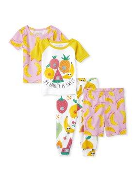 The Children's Place Baby Toddler Girl Short Sleeve Shorts & Pants Pajamas, 4pc Set