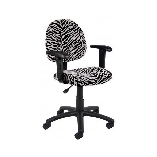 Boss Zebra Print Microfiber Deluxe Posture Chair W, Adjustable Arms. BSEB326ZB
