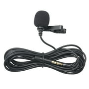 3.5mm Recording Microphone Lapel Clip-on Mic for IOS Android/Windows Cellphones Clip Podcast Noiseless Microphone for Bloggers with 3.0m Wire