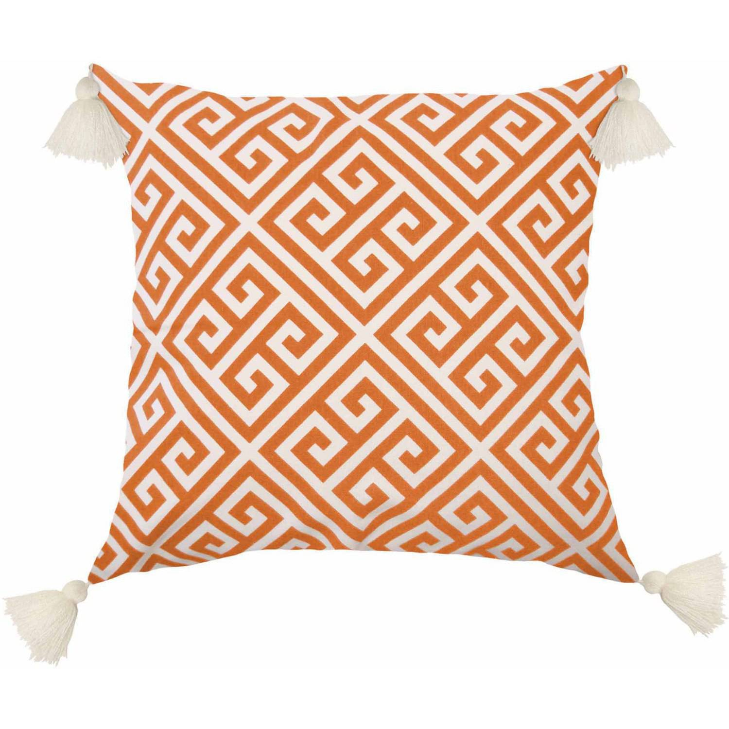 Better Homes and Gardens Greek Key Classic Pillow with Stylish Tassels