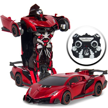 Best Choice Products Kids Transforming RC Remote Control Robot Drifting Sports Race Car Toy w/ Sounds, LED Lights - Red - New Style Race Car