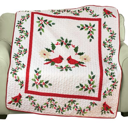 quilted cardinal christmas throw blanket