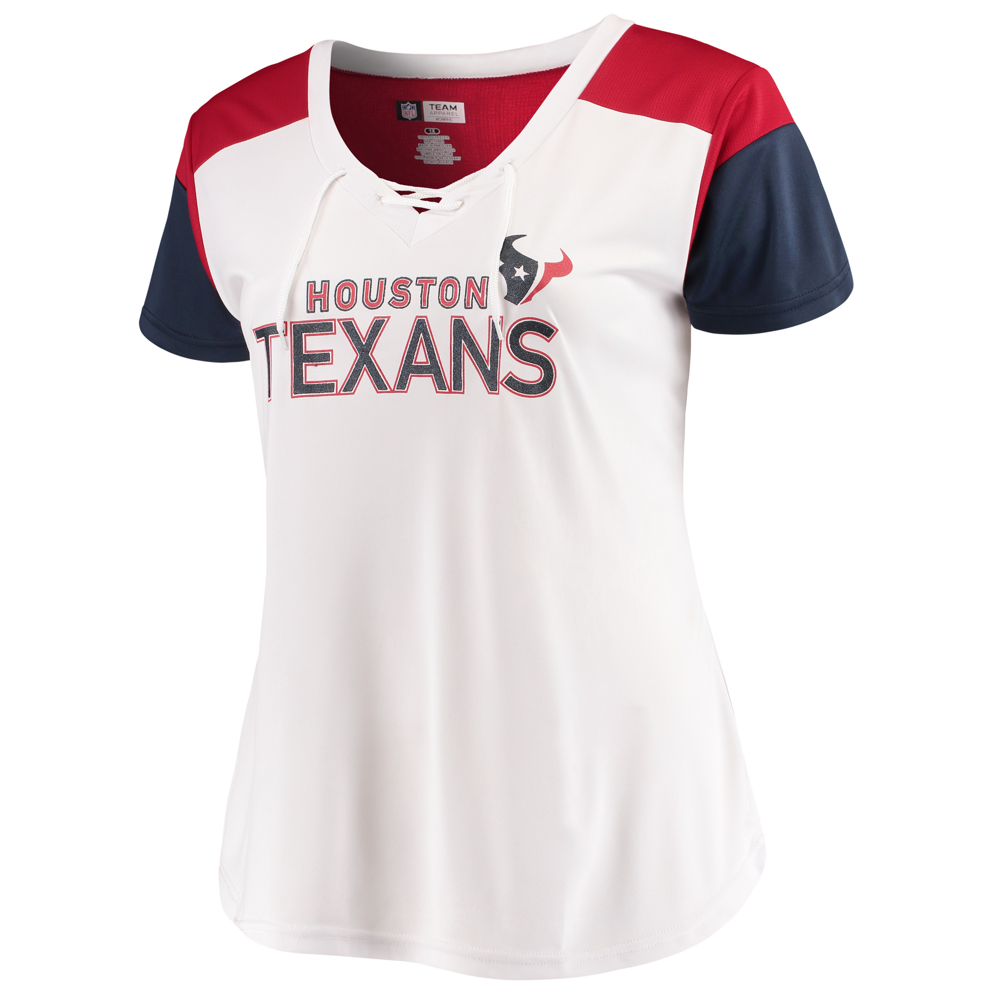 Women's Majestic White/Navy Houston Texans Lace-Up V-Neck T-Shirt