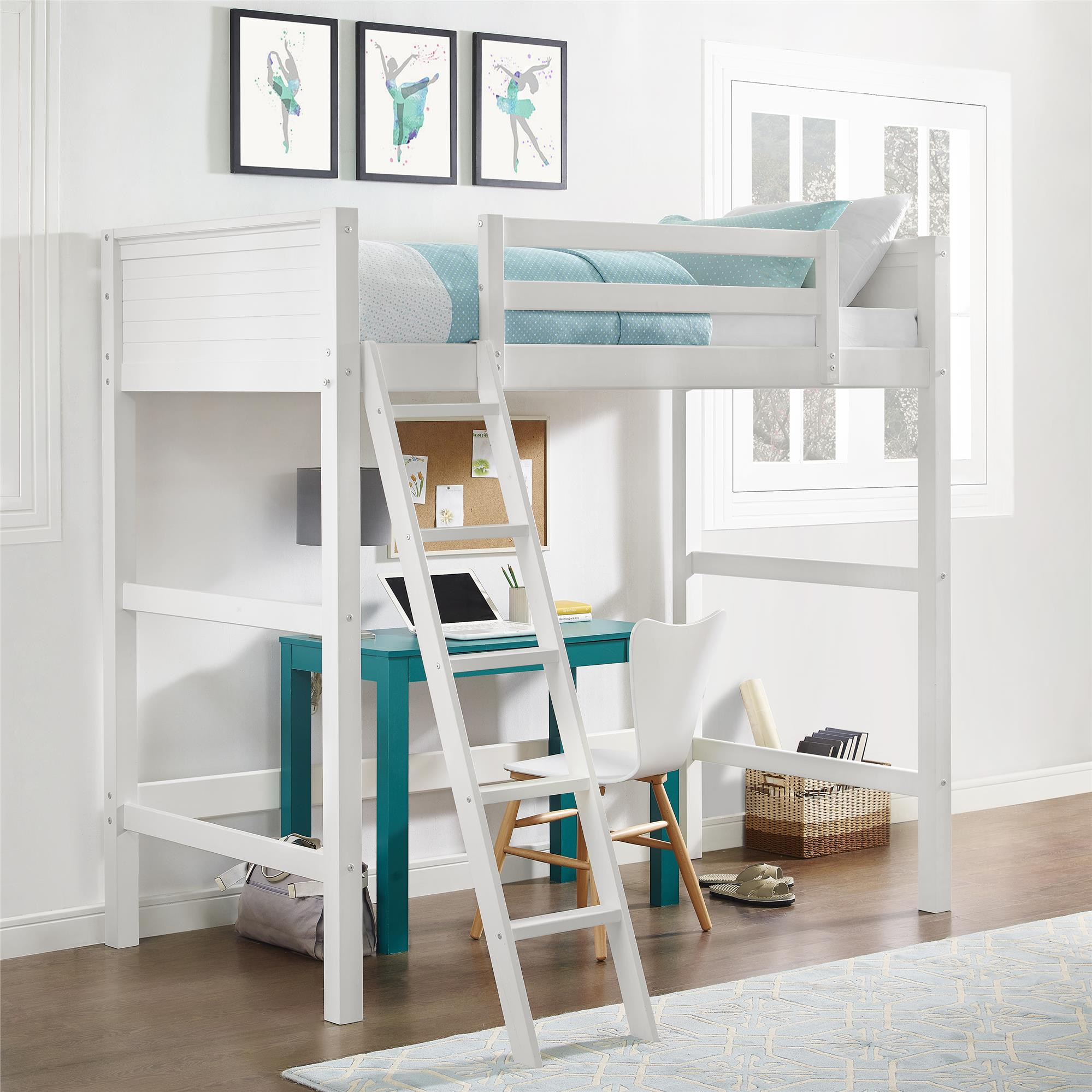 Your Zone Collection Twin Wood Loft Bed White Best Loft