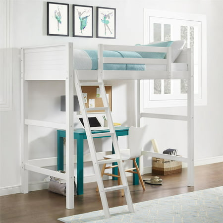 Your Zone Twin Wood Loft Bed And Mattress Set