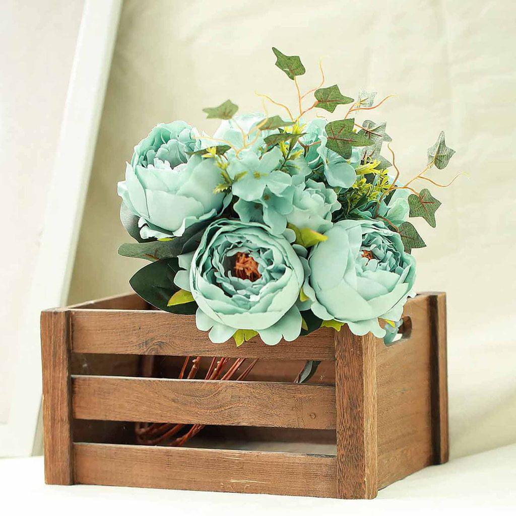 Efavormart 2 Bushes Peony, Rose Bud And Hydrangea Artificial Silk Flower Wedding Decoration