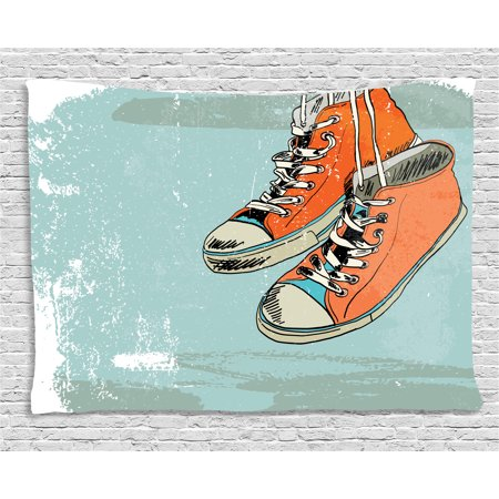 Modern Tapestry, Old Fashioned Punk Sports Shoes with Murky Grunge Effects Youth Graphic Art, Wall Hanging for Bedroom Living Room Dorm Decor, 80W X 60L Inches, Orange Pale Blue, by (80's Punk Fashion)